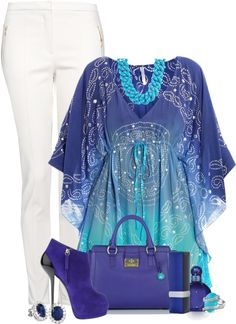 """""""Blue and White"""" love the shirt and bag but no white pants with the little girl"""