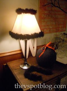 Halloweenify your lampshades. - The V Spot Gothic Halloween, Outdoor Halloween, Woven Shades, Dining Room Buffet, Candy Favors, Halloween Displays, Halloween Projects, Lampshades, Diy Tutorial