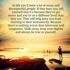 In life you'll meet a lot of mean and disrespectful people. If they hurt you, tell yourself that it's because they've got issues and you're on a different level than they are. That will help k