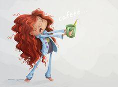 ilustracion infantil digital. Diseño personaje. Macus Romero. A quién madruga el café le ayuda.