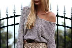 Knited sweater w/ sequins skirt.