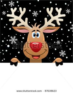 vector xmas illustration of reindeer holding blank paper for your text