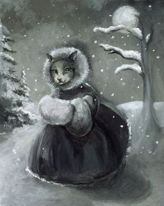 Winter Stroll cat art by amberalexander on Etsy