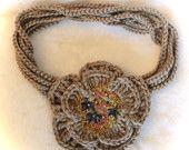 FREE SHIPPING- Crochet necklace and broche -boho style-infitity scarf-textile necklace-yarn jewerly-beautiful jewerly-embroidered jewerly