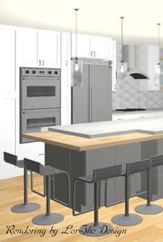 Wondering what your kitchen reno will look like before construction begins? Get a detailed rendering, and know exactly how your kitchen will look. Custom Home Designs, Custom Homes, Kitchen Reno, Construction, House Design, Table, Furniture, Home Decor, Building