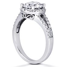 Pavé Halo Split-Shank Engagement Ring: Gold Platinum Diamond Ring ,engagement rings,diamond engagement rings