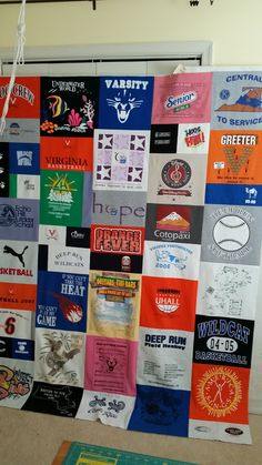 Variable layout t-shirt quilt ready to begin quilting. Deep Run, Shirt Quilt, Quilting, Layout, Memories, Signs, Words, Photos, Memoirs