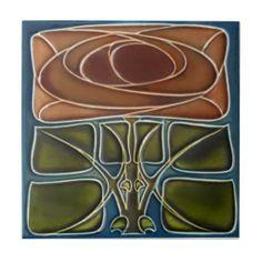 art deco tile   AD052 Art Deco Reproduction Ceramic Tile from Zazzle.com
