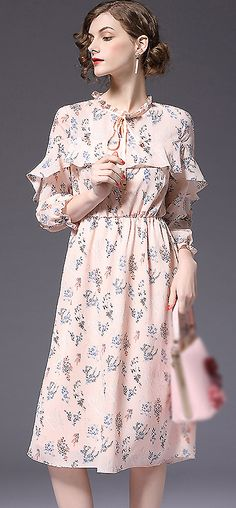Sweet O-Neck Ruffels Sleeve Print A-Line Dress
