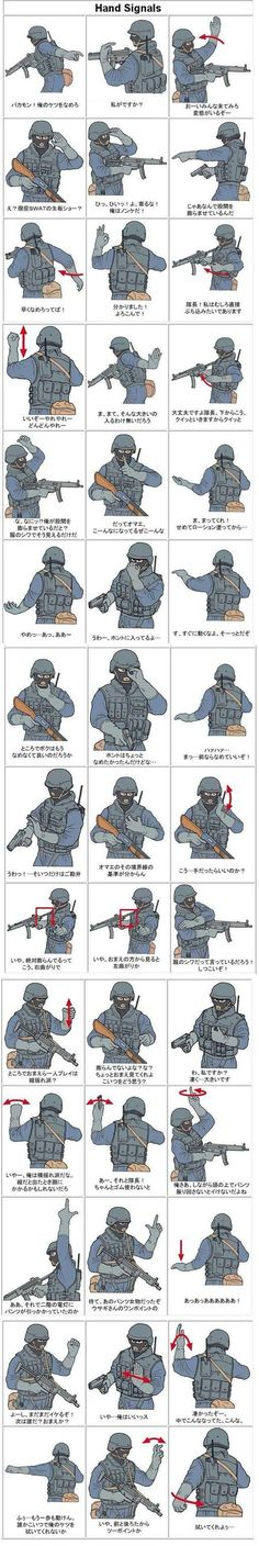 SWAT/Military hand signals- the funny thing is, after spending 21 yrs in the army, i find this pin to be totally accurate Military Signs, Military Humor, Military Ranks, Military Training, Military Life, Army Basic Training, Military Style, Military History, Survival Tips