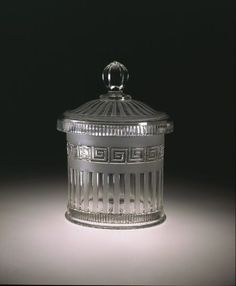 1867 British Biscuit barrel at the Victoria and Albert Museum, London - From the… Vintage Food Labels, Vintage Recipes, British Biscuits, Container Design, Glass Molds, Fenton Glass, Victoria And Albert Museum, Pressed Glass, Cookie Jars