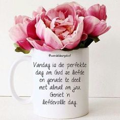 Vandag is die perfekte dag om God se liefde en genade te deel met almal om ons. Good Morning Good Night, Good Morning Wishes, Lekker Dag, Pallet Swing Beds, Goeie More, Afrikaans Quotes, Morning Blessings, Bible Prayers, Special Quotes