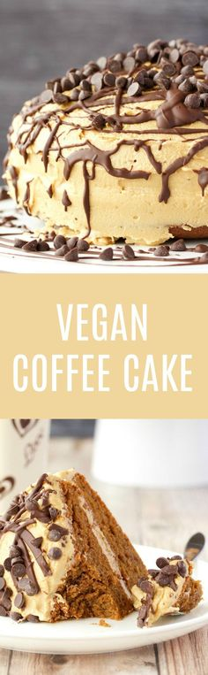 Insanely delicious vegan coffee cake with kahlua frosting. This isn't just a cake to eat with your coffee, this is fabulously decadent coffee flavored cake! Healthy Vegan Dessert, Cake Vegan, Vegan Dessert Recipes, Vegan Treats, Delicious Vegan Recipes, Vegan Foods, Vegan Dishes, Oreo Dessert, Coconut Dessert