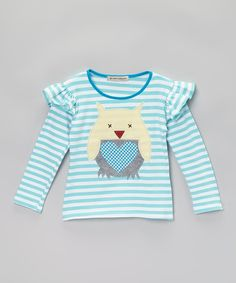 Love this Aqua Stripe Owl Top - Infant, Toddler & Girls by Million Polkadots on #zulily! #zulilyfinds