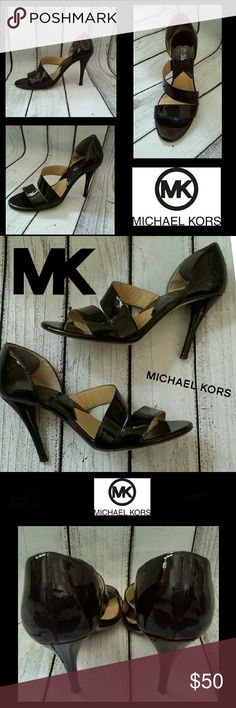 Michael Kors patent strappy peep-toe pump heels Gorgeous patent leather strappy D'orsay pumps from Michael Kors. Great condition,  ankle pads were placed on back heel area. 4 inch heel. NO TRADES PLEASE! OFFERS WELCOME THROUGH OFFER FEATURE ONLY PLEASE! Michael Kors Shoes Heels