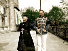 Kaiser Wilhelm II and his mother Kaiserin Victoria, nee Princess Royal of England. Circa 1890s