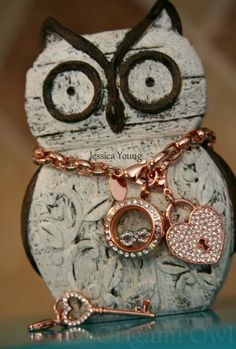 #Rosegold locket and dangles from #Origamiowl New Core Bracelets coming soon! Tinkerbella.origamiowl.com