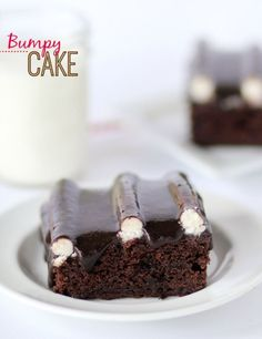 """Chocolate Bumpy Cake -- TO.  DIE.  Seriously the best chocolate cake I've had!!  Buttercream frosting """"bumps"""" are covered in rich poured frosting!!"""