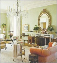 sister parish | Chinoiserie Chic: Timeless Chinoiserie -love the wall color, cream drapes, mirror, neutral chairs