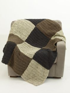 """Very simple...and it won't really be an """"Earth Block"""" Afghan because I am going to use some left over yarns...I made an afghan like this once before...I'll try to photo and pin some day."""