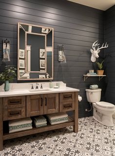 rustic modern lake house bathroom with black shiplap Bathroom Studio Steidley Rustic Vanity, Rustic Bathroom Vanities, Modern Farmhouse Bathroom, Rustic Bathrooms, Bathroom Interior, Rustic Farmhouse, Industrial Bathroom, Dream Bathrooms, Rustic Master Bathroom