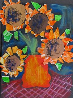Sunflowers - finger paint for petals symmetrical vases and chalk pastels