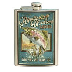 American Expedition STFL-412 Vintage Sign Flask, Rainbow Trout, Multi-Color -- Review more details here : Camping supplies