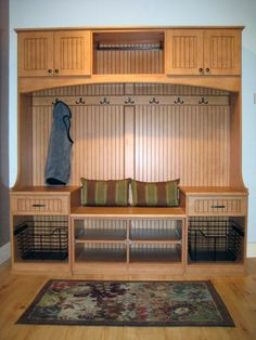 Mudroom Area with adjustable shelving, I like the beadboard look on cabinet faces and backing. I want doors on coat area. Entryway Cabinet, Entryway Storage, Door Entryway, Entry Closet, Hall Closet, California Closets, Welcome To My House, Custom Closets, Storage Cabinets