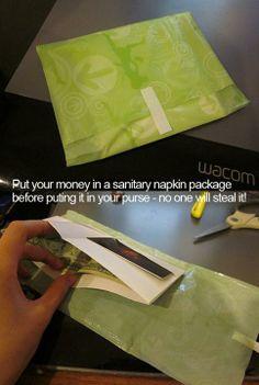 Verstop je geld in een maandverbandomslagje tegen stelen