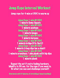 Jump Rope Interval Workout, since I'm going to the beach in a month! Circuit Workouts, Cardio, Health And Wellness, Health Fitness, Jump Rope Workout, Jump Squats, Life Choices, Fit 4, Getting Bored