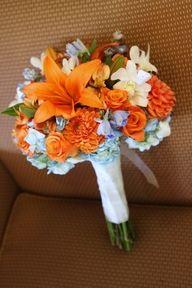 orange, blue, & white bouquet