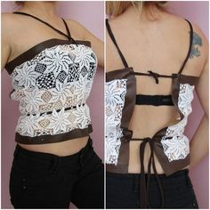 Leather Bustierwrap leatherCrochet halter topupcycled