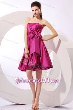 Strapless Fuchsia Dresses for Dama with Bow Knot A-line Knee-length