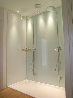 Our Mint White glass shower panels are looking fantastic in this customer& bathroom! Glass shower panels are becoming increasing popular as a fantastic alternative. The post Contemporary glass splashbacks appeared first on Mack Makeovers. Glass Tile Shower, Bathroom Interior Design, Bathroom Shower Walls, Bathroom Makeover, Glass Splashback, Shower Splashback, Glass Backsplash Kitchen, Bathroom Shower Panels, Bathroom Wall Panels