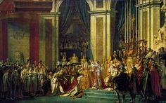 """Coronation of Napoleon, by Jacques-Louis David, 1805-1808. Oil on canvas, 20' 4 1/2"""" x 32' 1 1/4"""". Musée du Louvre, Paris. - Neoclassicism"""