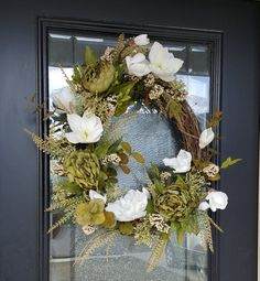 Elegant Fall Magnolia Wreath With Green Peonies, Best Fall Wreath, Autumn Magnolia Wreath, Grapevine Wreath for Door Fall Door Decorations, Fall Decor, Elegant Fall Wreaths, Winter Wreaths, Holiday Wreaths, Poinsettia Wreath, Magnolia Wreath, Pumpkin Wreath, Fall Pumpkins