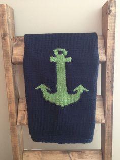 Knit Baby Anchor Stroller Blanket by jenncfish on Etsy https://www.etsy.com/listing/222371051/knit-baby-anchor-stroller-blanket