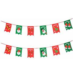 Life Up 6 PCS 98 Inches NonWoven Christmas Flags Pennant Curtain Banner with GlovesChristmas treesSnowmenDeerSanta Claus and Bells for HotelBirthdayFestivalsIndoor and Outdoor Decorations -- Learn more by visiting the image link.