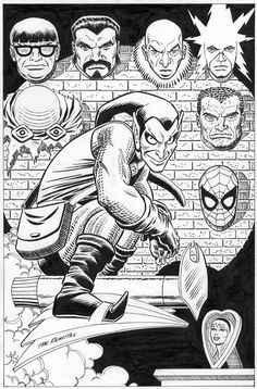 """Green Goblin's Trophy Wall by John Romita Sr. and John Romita Jr., in Chris C's """"Trophy Wall"""" Themed Commissions 3 Comic Art Gallery Room Green Goblin, Comic Book Artists, Comic Artist, Comic Books Art, Spiderman Art, Amazing Spiderman, John Romita Jr, Comic Pictures, Comic Art"""