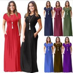 8 barev Módní dámské krátké rukávy Pevné barvy A linie Maxi šaty Jarní a  letní ženské f3074ba430