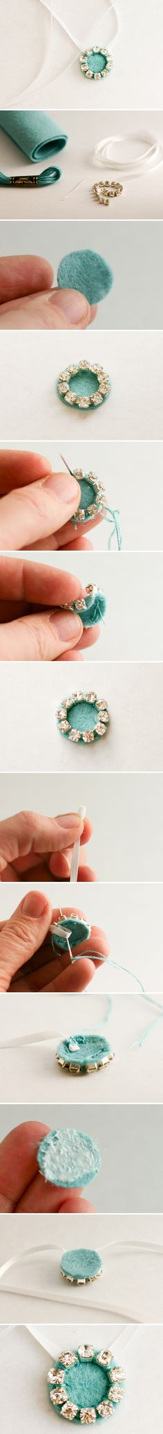 "rhinstone and felt DIY jewelry-would also be a cute ""button"" to embellish outfits or sweaters"