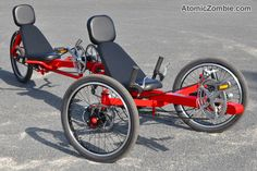 Recumbent Tadpole Trike Tandem plans from Atomic Zombie. Cool Bicycles, Cool Bikes, Velo Tricycle, Electric Trike, Recumbent Bicycle, Reverse Trike, 3rd Wheel, Pedal Cars, Bike Frame