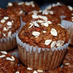 JLB morning glory muffins - (how I made them) 1 cup flour, 1 cup oats, 1/2 cup white sugar, 1/4 cup brown sugar, 2 tsp b.soda, 2 tsp. cinnamon, 1/4 tsp. salt, 2 cups shredded carrots, 1/2 cup walnuts, 1/2 coconut, 1 shredded apple, 3 eggs, 1 cup applesauce, 2 tsp vanilla. Bake at 350 for 20-25 minutes. Makes 12 (197 calories, 5.9 g fat, 2.9 g fibre, 4.9 g protein)