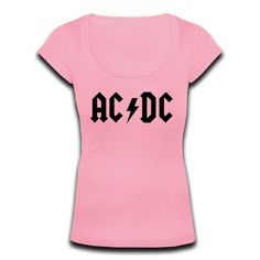 Womens Scoop Neck T-shirt ACDC Letter Pattern Tee Shirt