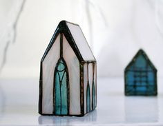 Miniature Church, Collectible Gift, Gothic Stained Glass House, Winter Gift  Ideas For Holidays, Christmas Decor