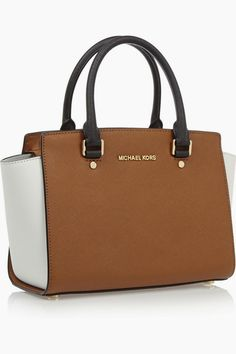 MICHAEL KORS Selma medium color-block textured-leather tote - The Fashion and Beauty Addict