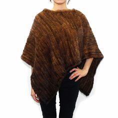 Asymmetrical Knitted Mink Poncho-Whiskey