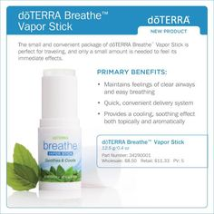 Enjoy the convenience, quick absorption, and smooth application of doTERRA Breathe™ Vapor Stick. This unique delivery method of doTERRA Breathe™ essential oil blend can be used anytime, anywhere to promote feelings of clear airways and easy breathing. The natural formula of this vapor stick glides on the skin with ease, without leaving a greasy or sticky after-feel. The power of doTERRA Breathe™ essential oil blend can be felt immediately, providing a cooling effect.