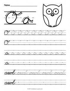 Free Printable Cursive O Worksheet Cursive Writing Practice Sheets, Teaching Cursive Writing, Cursive Handwriting Practice, Learning Cursive, Writing Practice Worksheets, Improve Your Handwriting, Handwriting Analysis, Handwriting Worksheets, Writing Activities