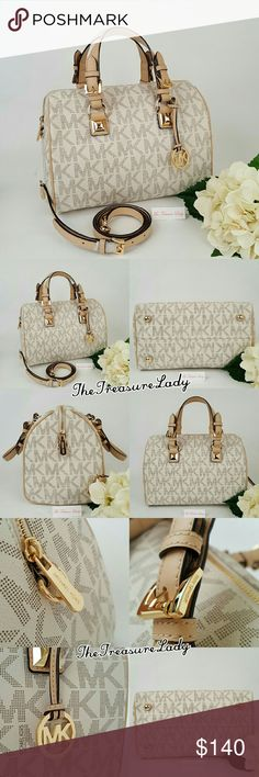 """Michael Kors MK Grayson vanilla satchel purse bag *Authentic *NWT *Style # 35S5GGYS2B *MK Medium Monogram Grayson satchel *Vanilla/white/cream color *Leather trim *Gold-tone hardware *Zipper closure *Attached MK emblem *Measurements: 8"""" H x 11"""" L x 7"""" D *6.5"""" handles *Detachable, adjustable shoulder strap *Inside slip (4) and zip (1) pockets *UPC 889154009677  Please no trades, price is firm  Same day shipping if order is placed by 3 p.m. EST Monday-Friday  Contact: brigittadarby@gmail.com…"""